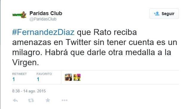 Rodrigo Rato recibió amenazas en Twitter sin tener cuenta