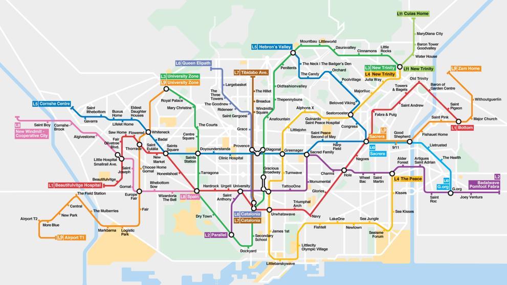 Mapa del metro de Barcelona en Catanglish