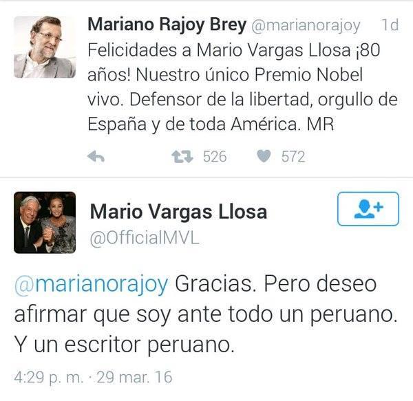 Mariano Rajoy felicita al español Mario Vargas Llosa