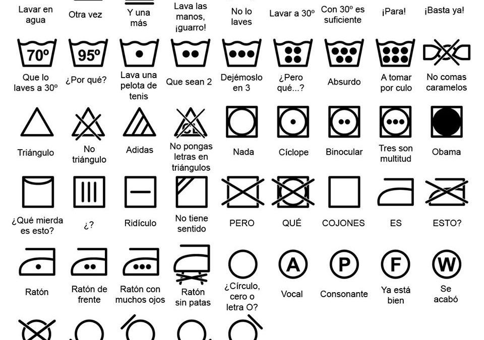 Símbolos ropa para lavar